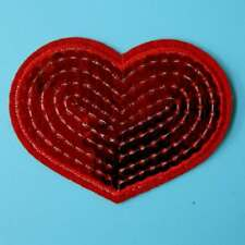 Sequin Red Heart Love Shining Iron on Sew Patch Applique Badge Embroidered Motif