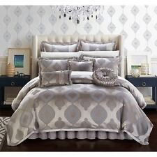 Chic Home Lazzel Taupe Faux Silk Bedding with Pleated Flange 9 Piece Comforter