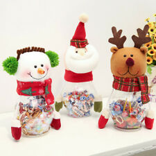 Kids Christmas Gift!Snowman Santa Claus Elk Doll Box Candy Holder Storage Bottle