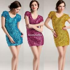 Womens Sexy  dramatic colors v-neck sequins cap sleeve party dress 7 colors 02
