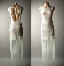 Ivory Sheer Crochet Backless Long Fringe 70s Festival Cover Up Maxi 279 mv Dress