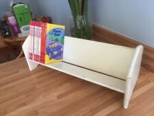 VINTAGE White Painted Wood WOODEN DESKTOP BOOK RACK BOOK SHELF Unit