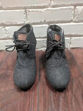 Toms Boots Women's Size 6 Gray Suede Wedge Lace-Up Ankle Boots