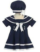 New Girls Navy White Sailor Striped Dress with Nautical Hat Easter Party 166