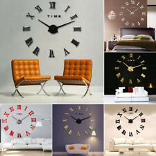 3D Modern Roman Numbers Acrylic Mirror Wall Sticker Clock Silent DIY Home Decor