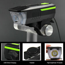 Bycicle LED Front Light Night Cycling Bike Headlamp Horn Light Combo Waterproof