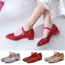 Womens Round Toe Shiny Party Pumps Low Heel Glitter Ankle Strap Mary Jane Shoes