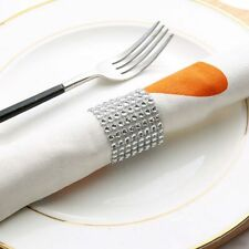 50Pcs Mesh Wrap for Dining Table Chair Band Rhinestone Napkin Ring Wedding Decor