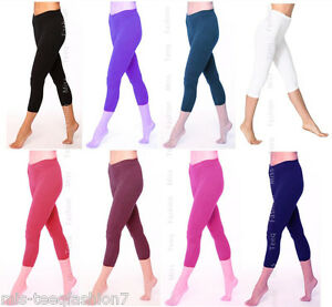 Womens Cropped Summer Cotton Leggings 3/4 Length All Sizes 8-26