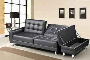 3 Seat Pu Leather Sofa Bed