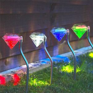 Babz 4 X Colour Changing Solar Diamond Lights