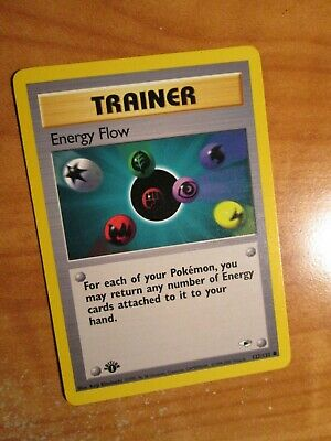 LP(1st edition) Pokemon ENERGY FLOW Card GYM HEROES Set 122/132 First Ed Trainer