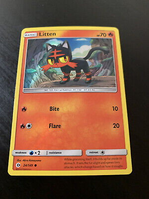 Pokemon Sun & Moon Core, Litten 24/149 Common NM, Promo Holo