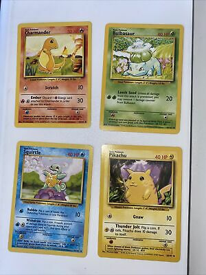 Pokemon Base Set Bulbasaur Squirtle Charmander Pikachu NM