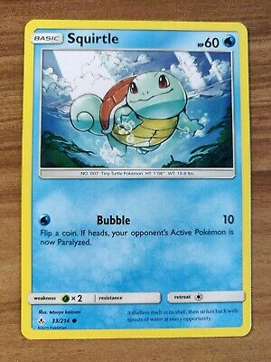 Squirtle 33/214 - MINT SM Unbroken Bonds - Pokemon TCG 2019 Common Card