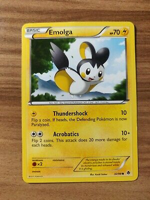 Emolga 32/98 - MINT BW Emerging Powers - Pokemon TCG 2011 Common Card