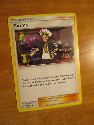 NM Pokemon Non-Holo GUZMA Card BURNING SHADOWS Set 115/147 Trainer Supporter