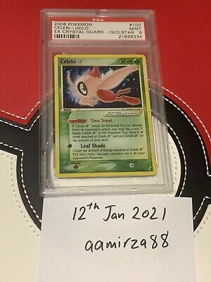 2006 Pokemon PSA 9 Celebi Gold Star Holo 100/100 EX Crystal Guardians