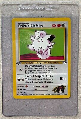 2000 Pokemon Gym Heroes Erika's Clefairy 1st Edition 25/132 MINT PSA Ready Card