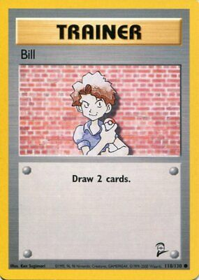 Pokemon Card - Bill - 118/130 - Base Set 2 - M/NM - Common