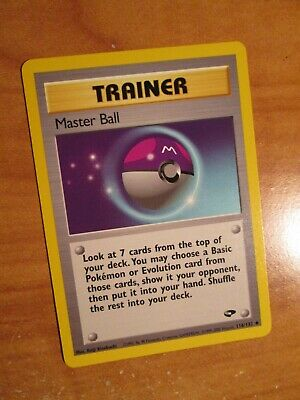 PL (Unlimited) Pokemon MASTER BALL Card GYM CHALLENGE Set 116/132 Trainer PLAYED