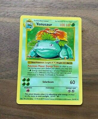 Shadowless Venusaur Base Set Rare Holo 15/102 Pokemon Card NM Near Mint