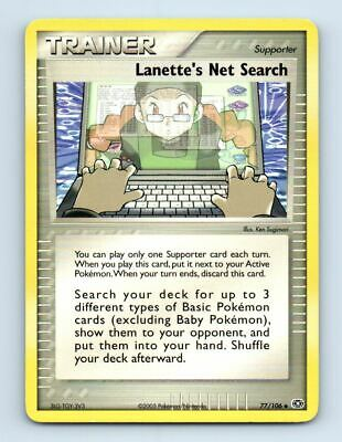 Lanette's Net Search 77/106 Non-Holo Ex Emerald Pokemon Card ~ LP