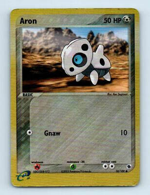 Aron 50/109 Reverse Holo Ruby & Sapphire Pokemon Card ~ Played