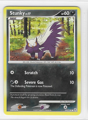 Pokemon Stunky 102/130 Diamond and Pearl Common Near Mint Condition