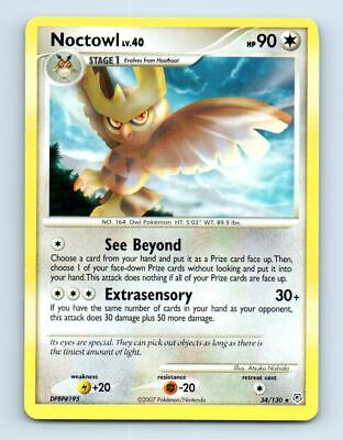 Noctowl 34/130 Non-Holo Diamond & Pearl Pokemon Card ~ LP