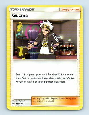 Guzma 115/147 Non-Holo SM Burning Shadows Pokemon Card ~ LP