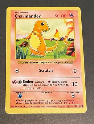 Pokemon 1st Edition Base Set Charmander 46/102 English 1999 WotC Shadowless Ex