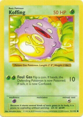 Pokemon Card - Base 51/102 - KOFFING (common) **Shadowless** - NM/PL