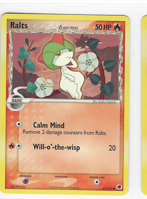 Pokemon Ralts 61/101 Dragon Frontiers Common Mint Condition
