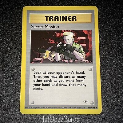 Secret Mission 118/132 Trainer 2000 Gym Heroes Unlimited Pokemon Cards NM*