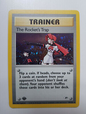 The Rocket's Trap - 19/132 Gym Heroes Pokemon - 1st Edition Near Mint