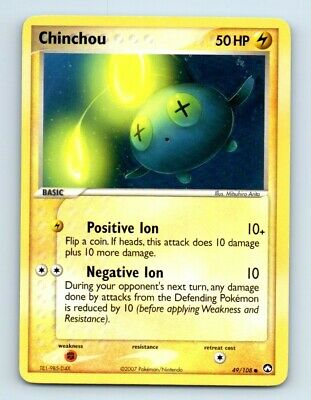 Chinchou 49/108 EX Power Keepers Pokemon Card d27 ~ Played