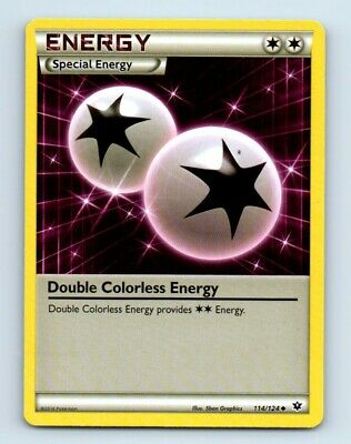 Double Colorless Energy 114/124 XY Fates Collide Pokemon Card d35 ~ Played