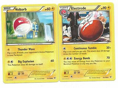 Pokemon Cards: Electrode 22/108 & Voltorb 21/108 Roaring Skies Evolution Set! NM