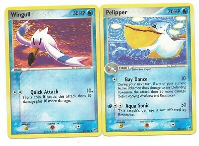 Pokemon Cards: Pelipper 21/107 & Wingull 81/107 EX Deoxys Set Rare! GD