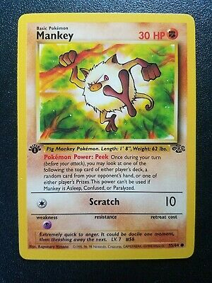 Pokemon 1st Edition Jungle Mankey Common (55/64) NEAR MINT