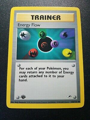 Pokemon 1st Edition Gym Heroes Energy Flow Trainer Common (122/132) NEAR MINT