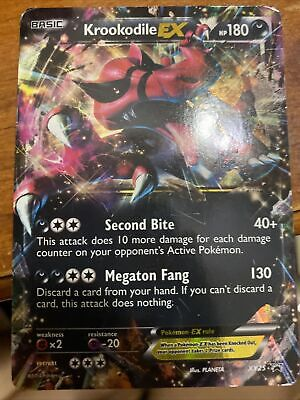 PL JUMBO Pokemon KROOKODILE EX Card BLACK STAR PROMO Set XY25 OVERSIZED Played