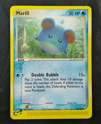 Pokemon Sandstorm Marill 68/100 Common Non Holo No Retreat Cost Error Misprint