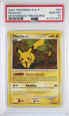 2007 Pokemon D&P Mysterious Treasures # 94 Pikachu PSA 10 Card GEM MINT! Rare!