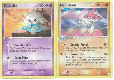Pokemon Cards: Meditite 65/101 & Medicham 42/101 EX Hidden Legends Set! NM