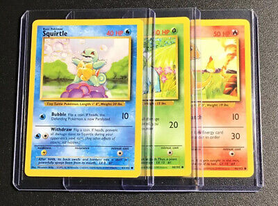 Pokemon Base Set Bulbasaur (44/102) Squirtle (63/102) Charmander (46/102) PL