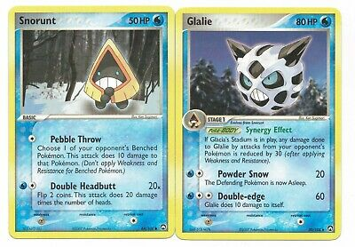 Pokemon Cards: Glalie 30/108 & Snorunt 64/108 EX Power Keepers Set! NM