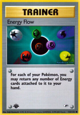 1x Energy Flow - 122/132 - Common - 1st Edition Damaged Pokemon G1 - Gym Heroes