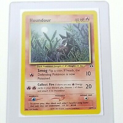 Houndour 24/75 Non-Holo Rare Neo Discovery Pokemon Card. NM-MINT-UNPLAYED